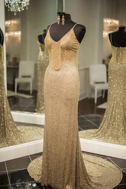 Ashley Lauren Gold Size 4 Pageant Train Custom Straight Dress on Queenly