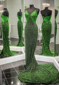 Queenly size 4 Ashley Lauren Green Mermaid evening gown/formal dress
