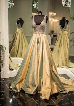 Sherri Hill Couture Gold Size 4 Backless Plunge Ball gown on Queenly