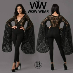 Wow Wear Black Size 4 Lace Jumpsuit Dress on Queenly