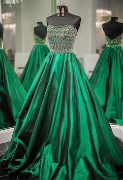 Sherri Hill Green Size 6 Ball gown on Queenly