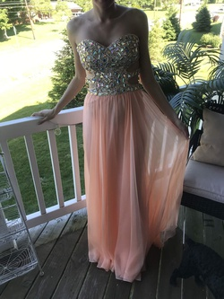 Queenly size 4 La Femme Orange Straight evening gown/formal dress