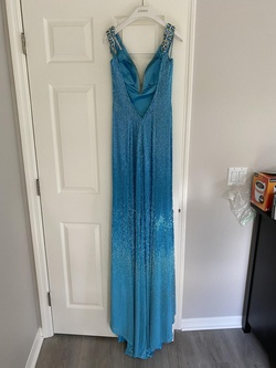 Jovani Blue Size 4 Liquid Beading Ombre Straight Dress on Queenly