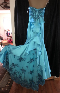 Ellie Wilde Blue Size 2 Pageant Tall Height Mermaid Dress on Queenly