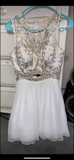 Queenly size 4  White A-line evening gown/formal dress