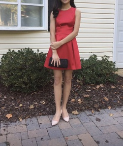 zara Red Size 2 Tall Height A-line Dress on Queenly
