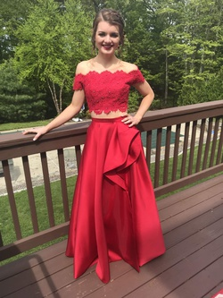 Sherri Hill Red Size 0 Two Piece Side Slit Mini Ball gown on Queenly