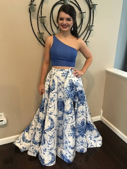 Sherri Hill Blue Size 4 Side Slit Mini Ball gown on Queenly