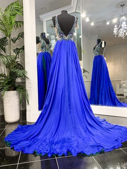 Jovani Blue Size 6 Backless Train A-line Dress on Queenly