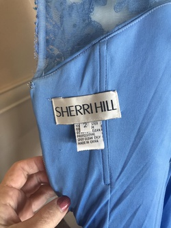 Sherri Hill Blue Size 2 Sheer Interview Mini Cocktail Dress on Queenly