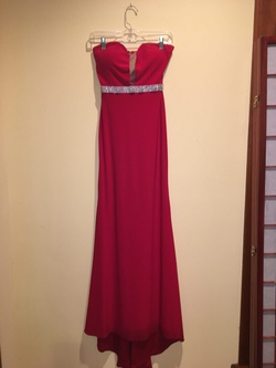 Blush prom Red Size 0 Shiny Strapless Padded Straight Dress on Queenly