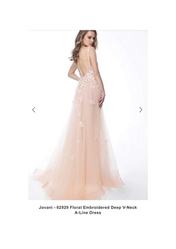 Jovani Pink Size 8 Spaghetti Strap Belt V Neck A-line Dress on Queenly
