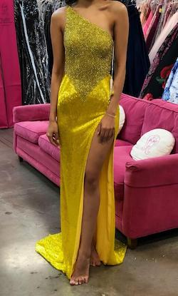 Queenly size 2 Sherri Hill Yellow Side slit evening gown/formal dress
