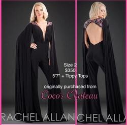 Rachel Allan Black Size 2 Fun Fashion Plunge Jumpsuit Dress on Queenly