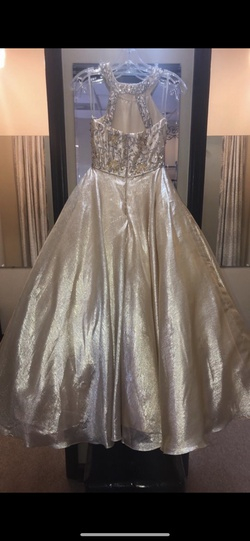 Rachel Allan Gold Size 8 Pageant Jewelled Halter Ball gown on Queenly