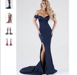 Portia & Scarlett Blue Size 2 Tall Height Silk Train Dress on Queenly