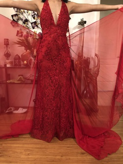 Mac Duggal Red Size 4 Tulle Lace Fitted Mermaid Dress on Queenly