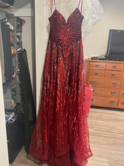 Queenly size 12 Johnathan Kayne Red A-line evening gown/formal dress