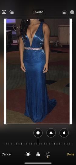 Jovani Blue Size 4 Custom Liquid Beading Straight Dress on Queenly