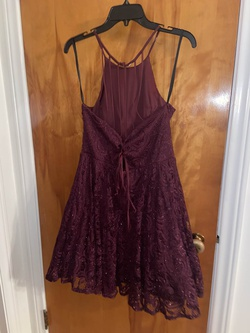 Windsor Purple Size 14 Halter Lace Shiny Plus Size Cocktail Dress on Queenly