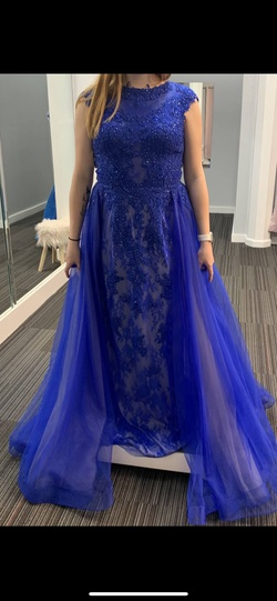 Queenly size 10  Blue Train evening gown/formal dress