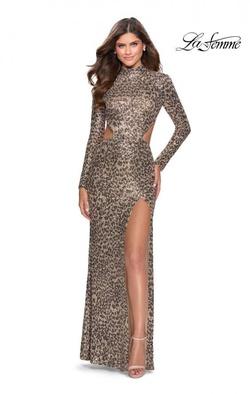 La Femme Multicolor Size 4 Jewelled Backless Side slit Dress on Queenly
