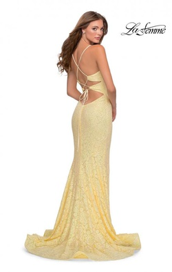 La Femme Yellow Size 6 Plunge V Neck Lace Side slit Dress on Queenly