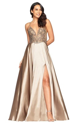 Faviana Nude Size 6 Backless Sheer A-line Dress on Queenly