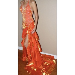 Queenly size 2  Orange Train evening gown/formal dress