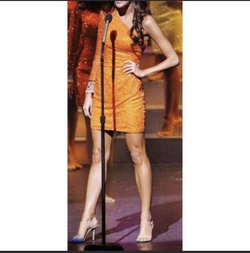 Sherri Hill Orange Size 2 Sheer Cocktail Dress on Queenly