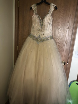 Queenly size 2  Nude Ball gown evening gown/formal dress