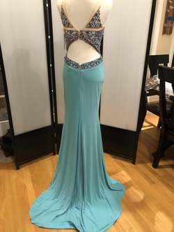 Jovani Blue Size 2 Sheer Side Slit Straight Dress on Queenly