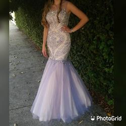 Camille La Vie Purple Size 4 Nude Mermaid Dress on Queenly