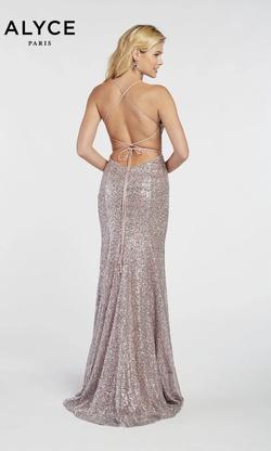 Style 60304 Alyce Paris Purple Size 00 V Neck Lace Side slit Dress on Queenly