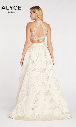Style 60437 Alyce Paris Gold Size 0 Halter Prom Two Piece Ball gown on Queenly