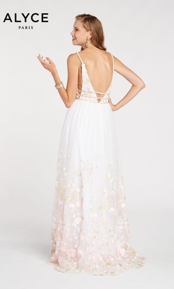 Style 60464 Alyce Paris White Size 14 Backless Tall Height Lace A-line Dress on Queenly