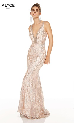 Style 60657 Alyce Paris Nude Size 6 Backless Sheer Tall Height Straight Dress on Queenly