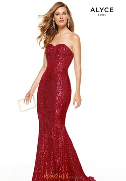 Style 60809 Alyce Paris Red Size 14 Sweetheart Train Strapless Plus Size Mermaid Dress on Queenly