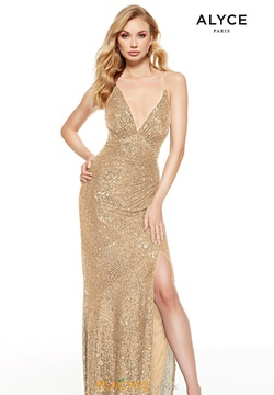 Queenly size 2 Alyce Paris Gold Side slit evening gown/formal dress