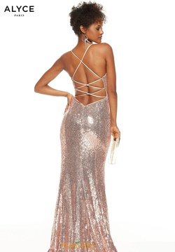 Style 60822 Alyce Paris Rose Gold Size 00 Jewelled Corset Tall Height Side slit Dress on Queenly