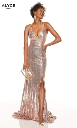 Queenly size 00 Alyce Paris Gold Side slit evening gown/formal dress