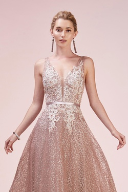 Style A0568 Andrea & Leo Pink Size 24 Rose Gold Pageant Plus Size A-line Dress on Queenly