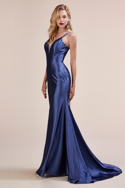 Style A0632 Andrea & Leo Blue Size 8 Plunge Mermaid Dress on Queenly