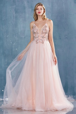 Queenly size 8 Andrea & Leo Pink A-line evening gown/formal dress