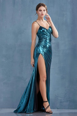Queenly size 6 Andrea & Leo Green Side slit evening gown/formal dress
