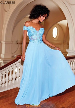 Style 3774 Clarisse Blue Size 18 Lace Shiny Plus Size A-line Dress on Queenly