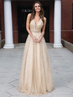 Style 1742 Colors Gold Size 4 Sheer Tall Height Ball gown on Queenly