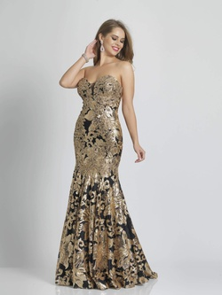 Style A6768 Dave & Johnny Gold Size 14 Strapless Lace Plus Size Mermaid Dress on Queenly
