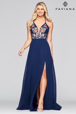Style 10000 Faviana Blue Size 2 Corset Tall Height V Neck Side slit Dress on Queenly