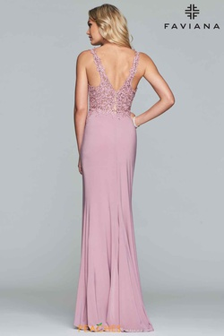 Style 10204 Faviana Pink Size 14 Lace V Neck Straight Dress on Queenly